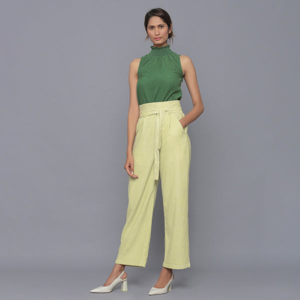 Front View of a Model wearing Yellow Pistachio Cotton Corduroy Pant