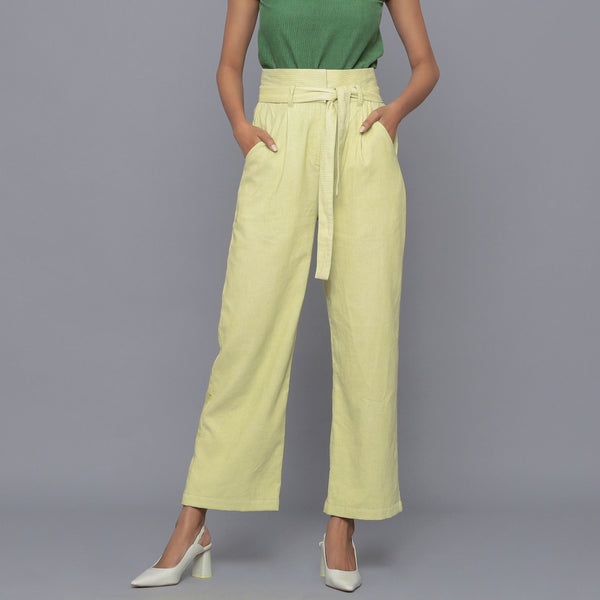 Front View of a Model wearing Yellow Pistachio Corduroy High Waist Pant