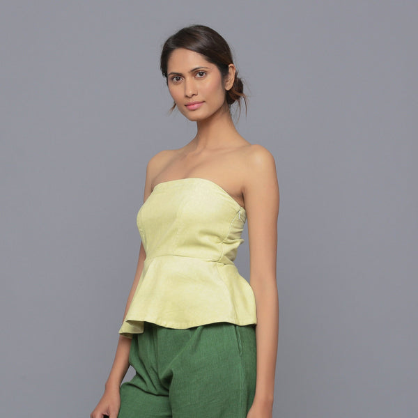 Left View of a Model wearing Yellow Pistachio Cotton Corduroy Tube Top