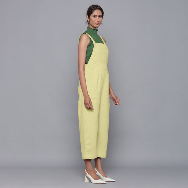 Right View of a Model wearing Yellow Pistachio Cotton Corduroy Dungaree