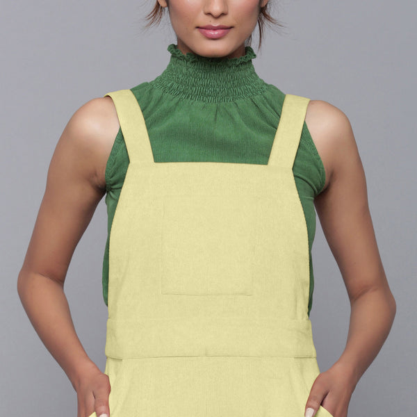 Front Detail of a Model wearing Yellow Pistachio Cotton Corduroy Dungaree