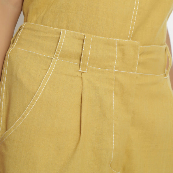 Close View of a Model wearing Yellow Mid Rise Vegetable Dyed Culottes