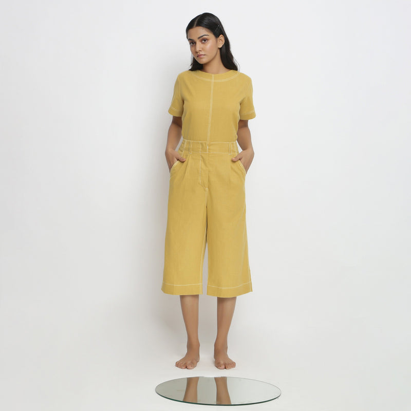 Front View of a Model wearing Yellow Mid Rise Vegetable Dyed Culottes