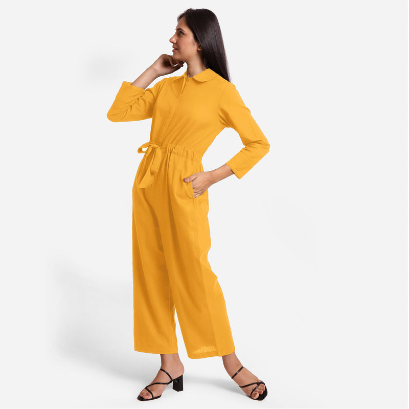Left View of a Model wearing Yellow Wide Legged Cotton Overall