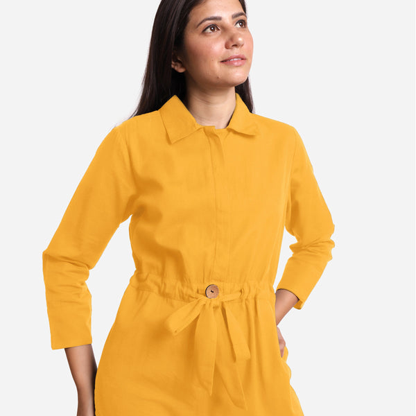 Front Detail of a Model wearing Yellow Wide Legged Cotton Overall