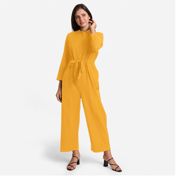 Front View of a Model wearing Yellow Wide Legged Cotton Overall