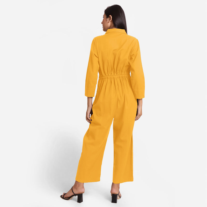 Back View of a Model wearing Yellow Wide Legged Cotton Overall