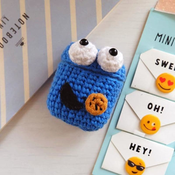 Cookie Monster Knitted Airpod Case