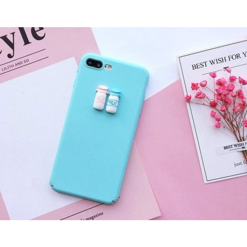 Cute 3D Beverage Case - Blue / Milk / iPhone 5/5S