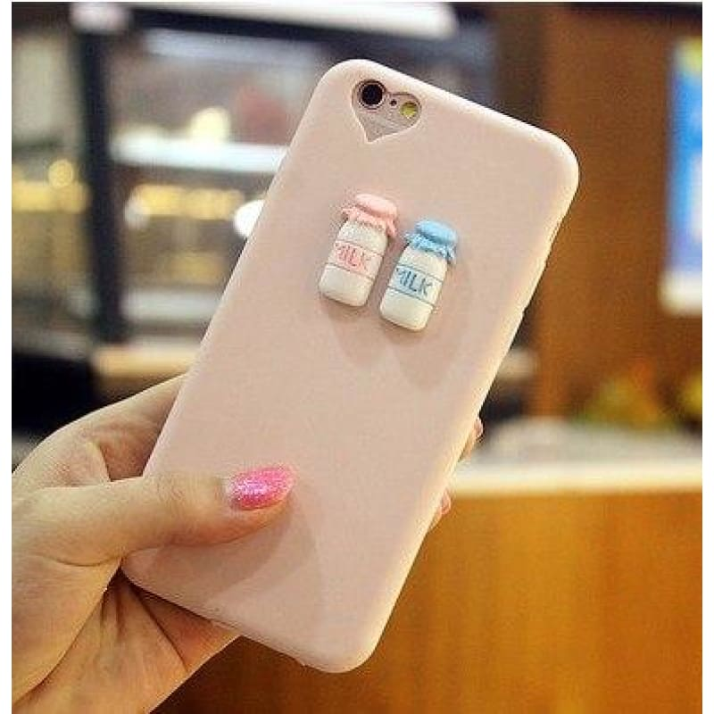 Cute 3D Beverage Case - Pink / Milk / iPhone 5/5S