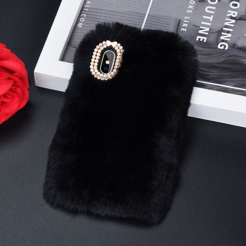 Faux Fur Case - Black / iPhone 5/5S SE