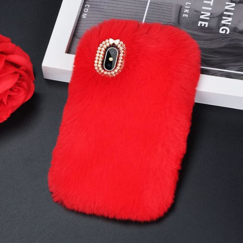 Faux Fur Case - Red / iPhone 5/5S SE