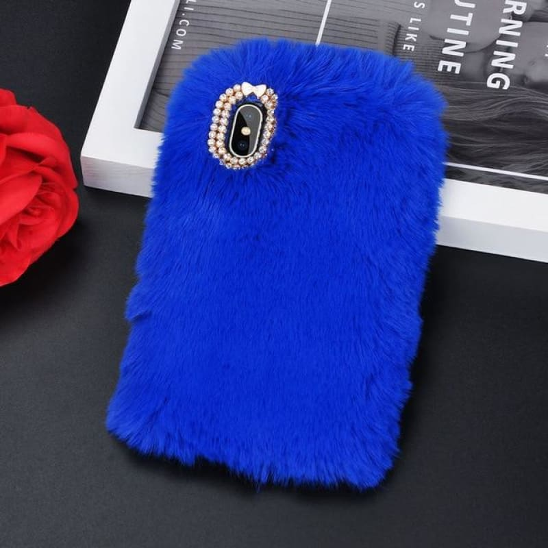 Faux Fur Case - Royal Blue / iPhone 5/5S SE