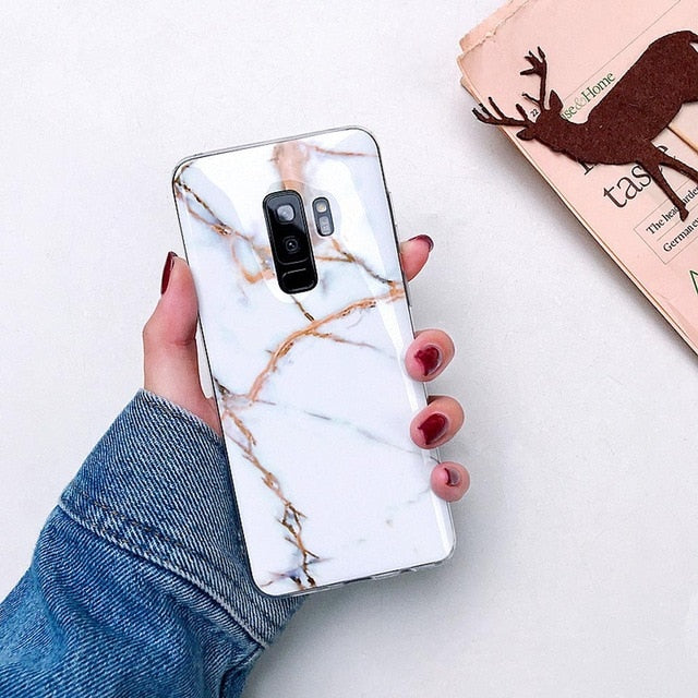 White/Rose Gold Marble Samsung Case