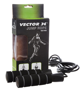 Vector X Adjustable Padded Skipping Rope - 9ft (Black/Grey)