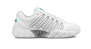 K-Swiss Women's Big Shot Light Leather CARPET Tennis Shoes - White/Hawaiian Oceank/Silver