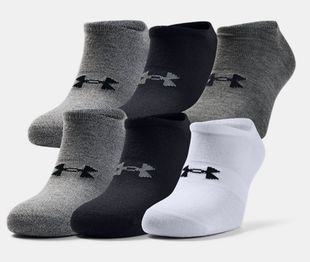 Under Armour Adult Essential No Show Socks - Assorted (6 pack)