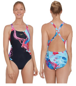 Speedo Women's ColourFlood Placement Powerback Swimsuit - Black/Pink/Blue