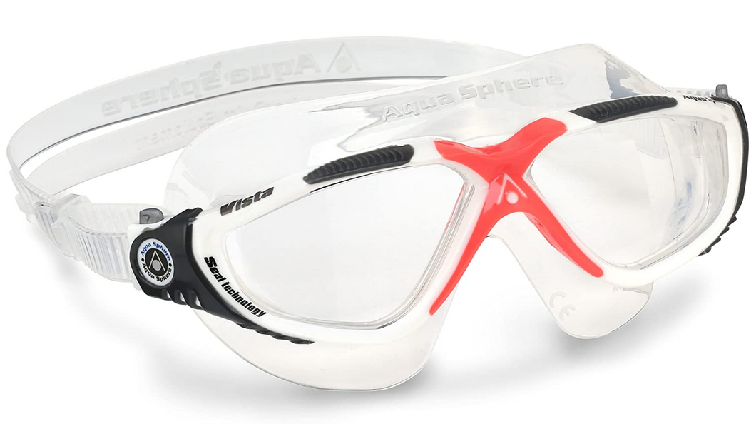 Aqua Sphere Vista Unisex Swimming Mask Goggles Clear Lens - White/Red Obsession