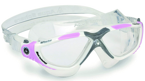 Aqua Sphere Vista Unisex Swimming Mask Goggles Clear Lens - White/Grey/Pink
