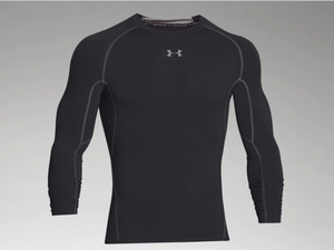 Under Armour Men's HeatGear Armour Long Sleeve Compression Shirt - Black