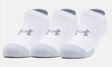 Load image into Gallery viewer, Under Armour Youth HeatGear No Show Socks - White/Grey (3 pack)