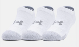 Under Armour Youth HeatGear No Show Socks - White/Grey (3 pack)