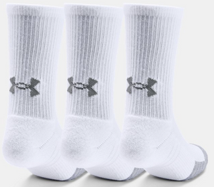 Under Armour Youth HeatGear Crew Socks - White/Grey (3 pack)