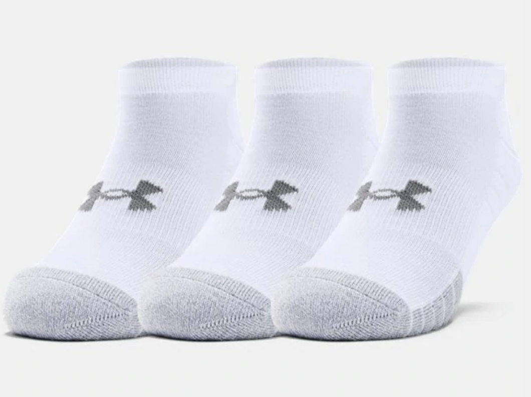 Under Armour Adult HeatGear No Show Socks 3-Pack - White/Grey