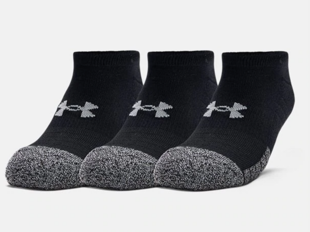 Under Armour Adult HeatGear No Show Socks 3-Pack - Black/Grey