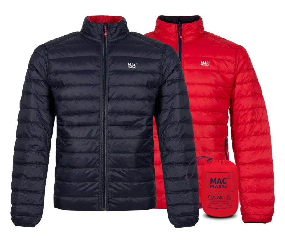 Mac in a Sac Polar II Mens Reversible Down Jacket - RED / NAVY