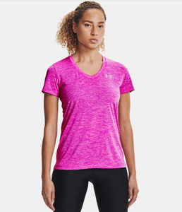 Under Armour Women's Tech Short Sleeve V-Neck T-Shirt - Meteor Pink (660)