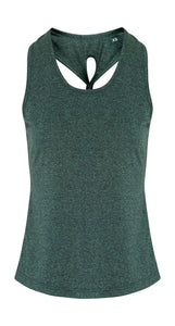 TriDri Women's yoga knot vest tank - Forest Green