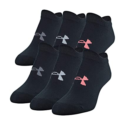 Under Armour Women's Essential No Show Socks - Black (6 pack)