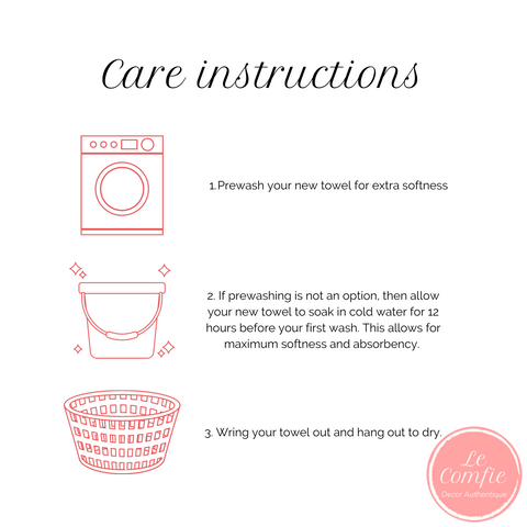 Cotton towel care instructions; absorbent; Turkish towels