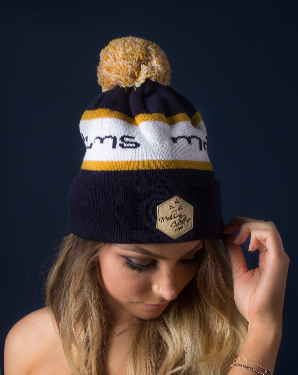 beanie, Pom pom beanie, Sports beanie, Gold, leather patch, Mediums collective
