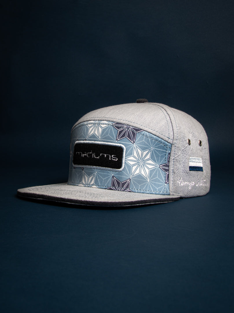 hemp hat, blue. 7 panel, mediumscollective. mediums, clothing,