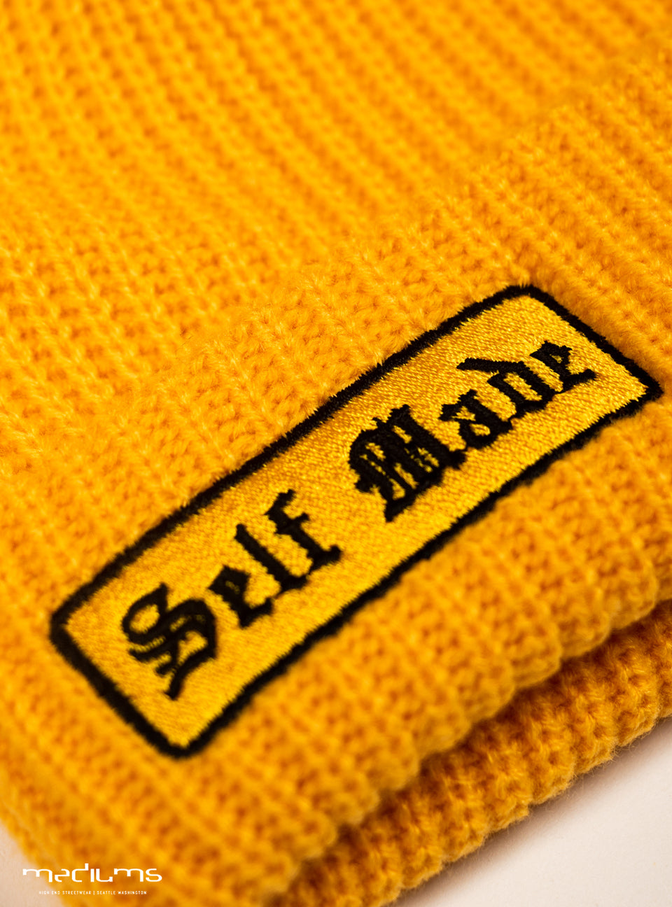 beanie, spring, gold, yellow, self made, knit beanie, streetwear, hiphop fashion,  mediums, mediumscollective