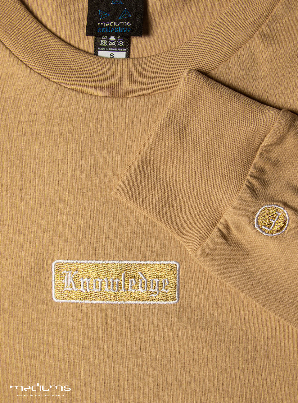 long sleeve, brown, latte, tshirt, spring collection, chess not checkers, premium, cotton, mediums, mediumscollective, designer shirts, streetwear, urbanwear, hiphop fashion, hustle tshirt, old english font, gold,  nipsey hussle