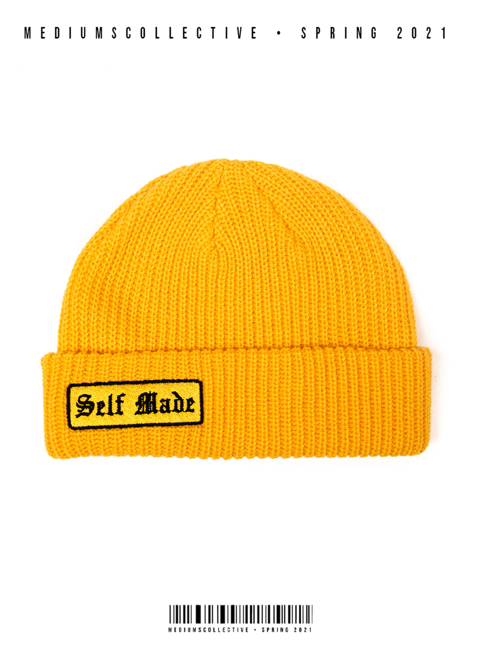beanie, spring, gold, yellow, self made, knit beanie, streetwear, hiphop fashion, mediums, mediums collective, mediumscollective