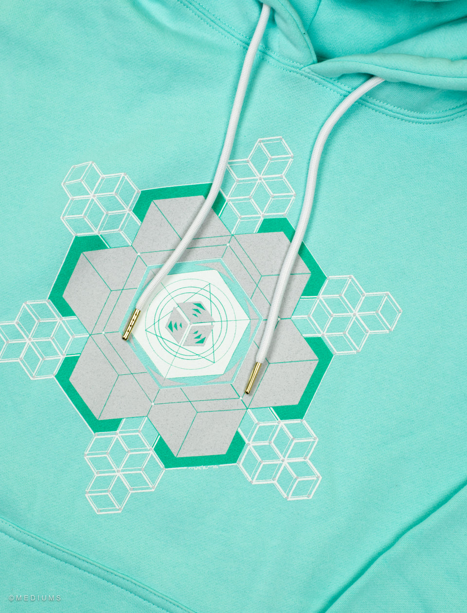Crytal Design Hoodie - Tiffany Teal Green