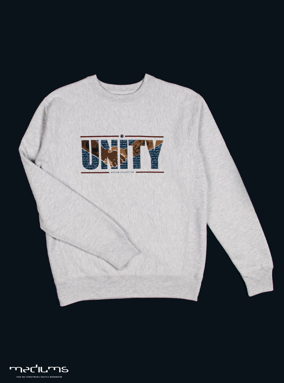 UNITY, sweatshirt, nipsey hussle, mexican culture, blm, black culture, black and brown, unidad, crewneck, heavyweight, gray heather, mediums collective, mediumscollective,