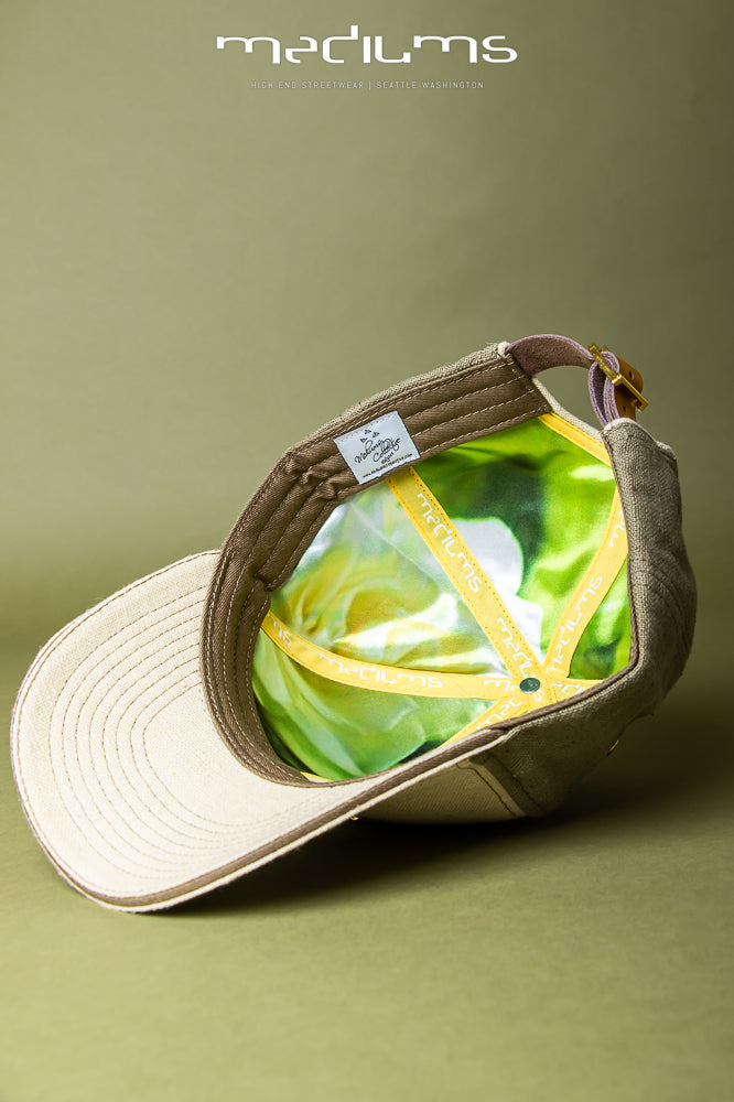 hemp hat, baseball cap, olive, hemp, satin lining, mediums, mediumscollective, mediums collective
