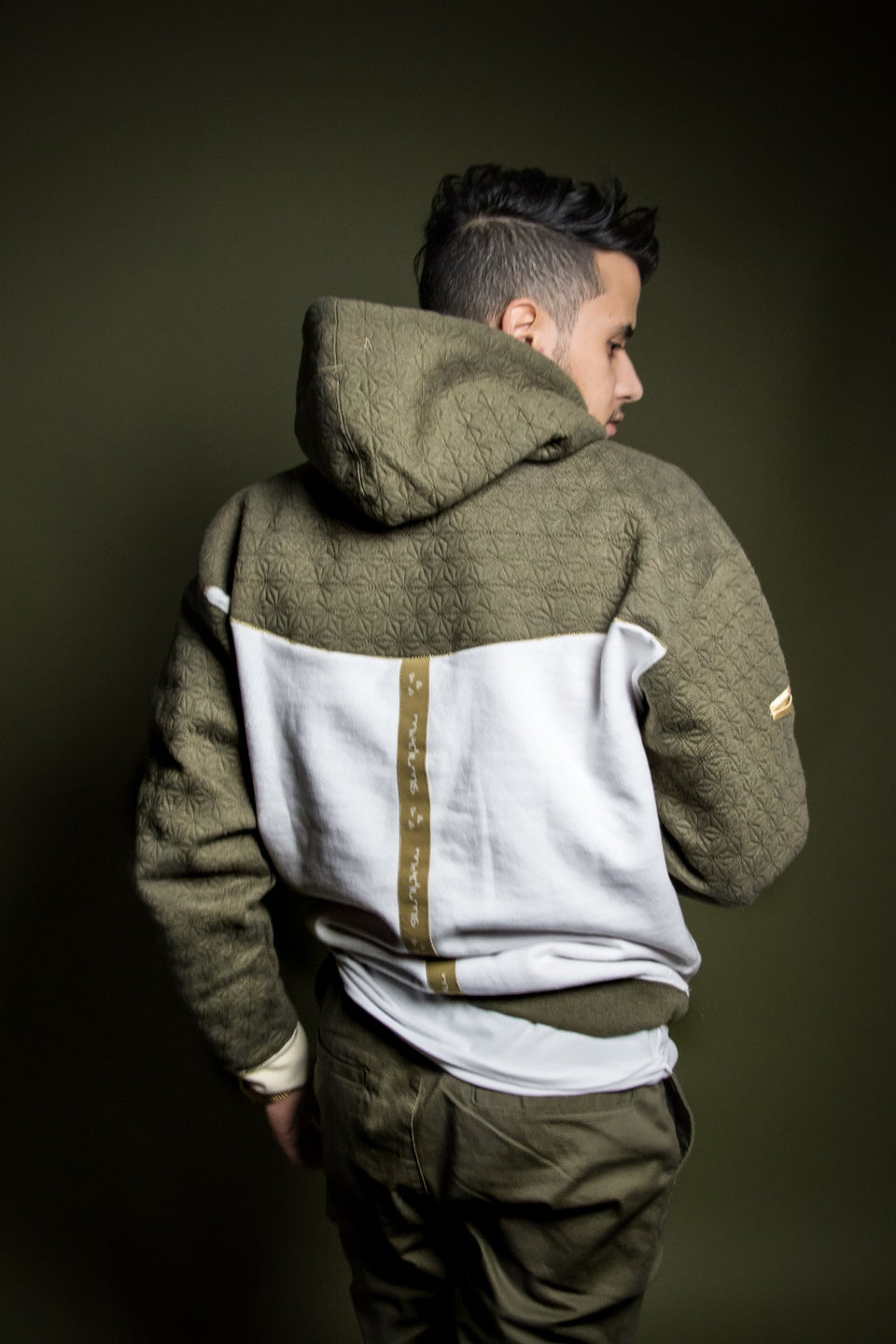 Quilted Hoodie - Olive Green