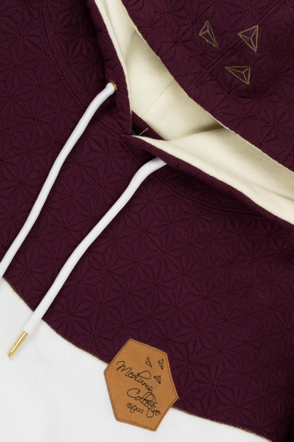 Quilted Hoodie Wine & Cream