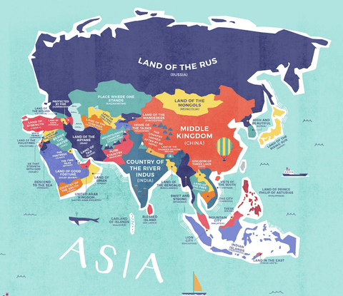 Map Of The Whole World With Names.The Map That Shows The Actual Named Meaning Of Every Country On The