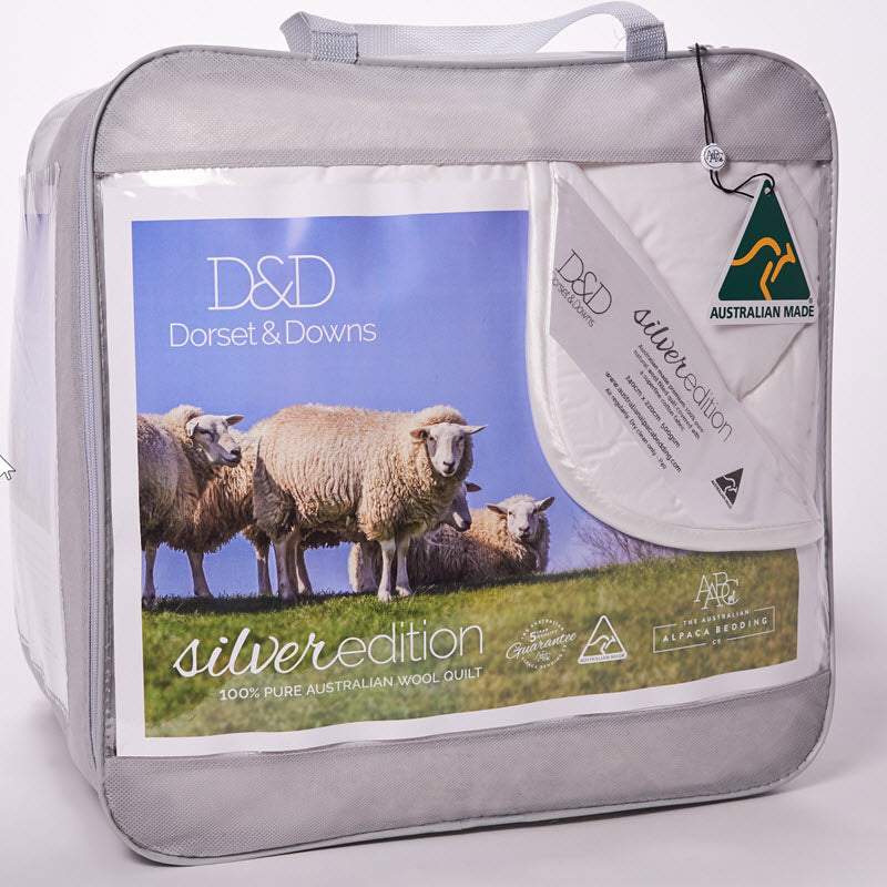 Dorset & Downs Wool 500 Quilt - Silver Edition | Kelly and Windsor Australian Alpaca Quilts