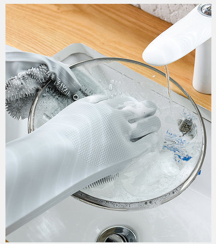 Image of Magic Silicone Dish-washing Scrubber Gloves