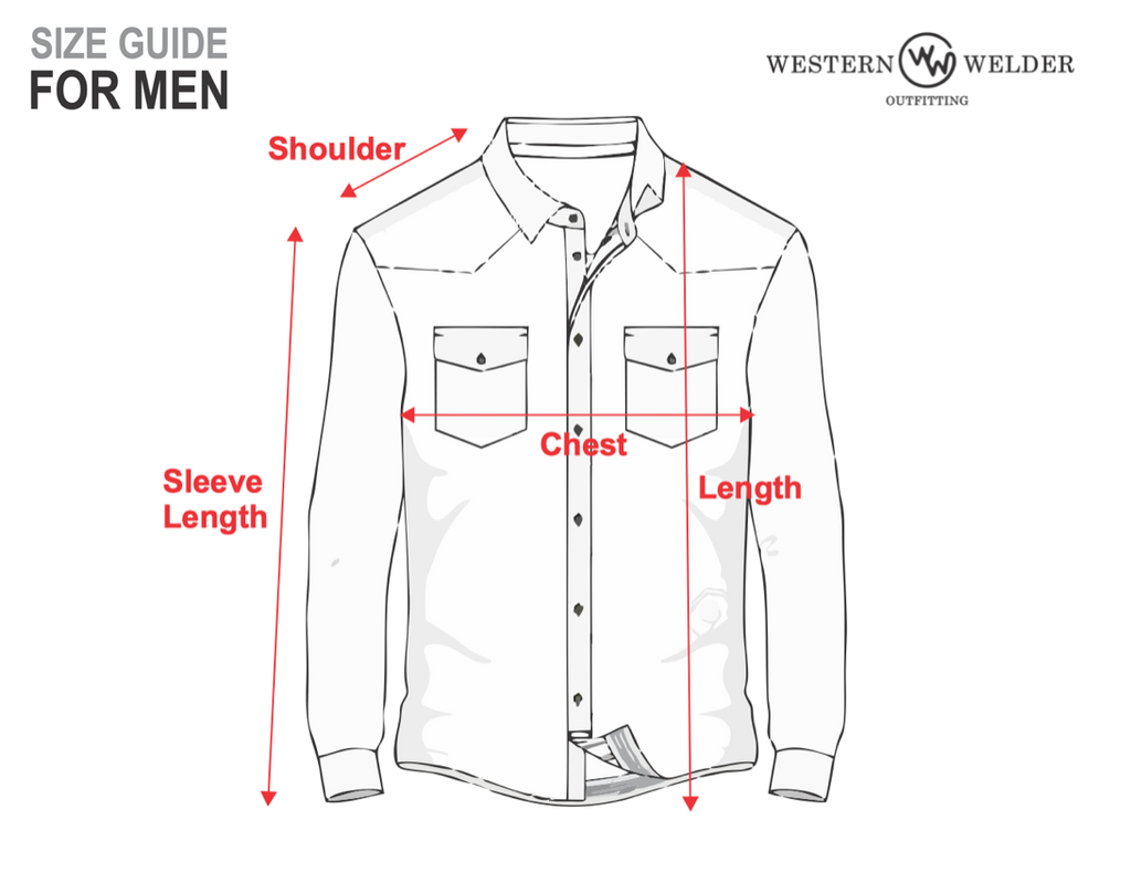 Diagram of welding shirt: sleeve length measured from wrist to shoulder, shoulder length measured from base of neck to shoulder, chest measured from armpit to armpit, length measured from base of neck to hem