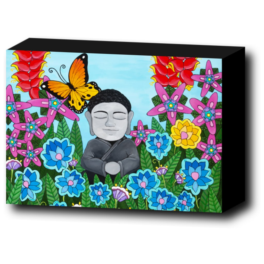 Peaceful Buddha in Flowers Canvas Print